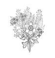 spring flower bouquet sketch floral vector image
