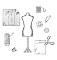 tailoring or sewing sketched icons and objects vector image