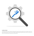 toothbrush with paste icon search glass with gear vector image