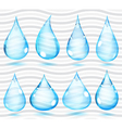 Transparent light blue drops vector image vector image