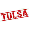 tulsa red square stamp vector image vector image