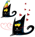 two variant black cat cartoon party and vector image