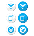 Wifi network internet zone blue labels set vector image vector image