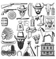 wild west cowboy icons american western items vector image vector image