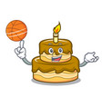 with basketball birthday cake character cartoon vector image vector image