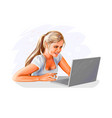 woman blogger working on laptop with a cup vector image