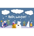 Hello winter snow sign flat card vector image