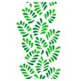 Green leaves seamless vertical border on white vector image