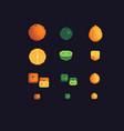 orange lime and lemon pixel art icons set vector image