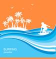 surfer and sea waves backgroundsummer nature vector image