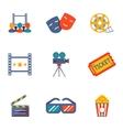 Cinema and Movie flat icon set vector image