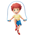 A boy playing with the rope vector image vector image