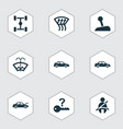automobile icons set with auto hood chassis not vector image