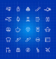 aviation or airport outline icons set on blue vector image vector image