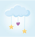 baby shower cloud with hanging heart and stars