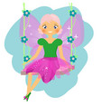 beautiful fairy sitting on swing winged elf vector image vector image