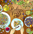 beautiful hand-draw - italian food on the wood vector image vector image