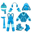 blue winter clothes collection vector image vector image