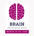 brain awareness week 2020 vector image vector image