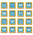 butterfly icons azure vector image vector image