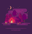 camp with tent and campfire at night vector image