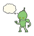 cartoon alien robot with thought bubble vector image