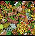 cartoon doodles hawaii seamless pattern vector image vector image