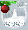 christmas snowman with digits 2020 with a vector image