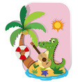 Crocodile playing guitar on island vector image vector image