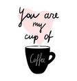 cups coffee mug heart love hand drawn style vector image vector image