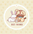 cute greeting card with pets cartoon vector image