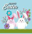 cute rabbit happy easter card vector image