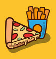 delicious pizza and fries french food vector image vector image