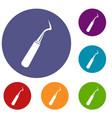 dental probe icons set vector image vector image