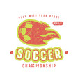 emblem of soccer championship vector image vector image