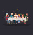 family sitting at dining table vector image vector image