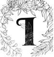 flower alphabet letter i pattern vector image vector image