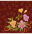 Flowers alstroemeria and leafs contours vector image