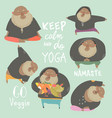 funny chubby man doing yoga healthy lifestyle vector image vector image