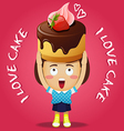 happy woman carrying big chocolate cake with straw vector image vector image