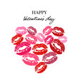 heart with lipsticks prints heart full of kisses vector image vector image