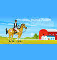 horseback riding poster or banner racing icons vector image vector image