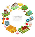 isometric farming round concept vector image vector image