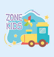 kids zone plastic train and pinwheel with stick vector image vector image