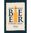 label for beer with a bottle vector image vector image