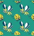 ladybug and bee seamless pattern vector image