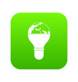 light bulb and planet earth icon digital green vector image vector image