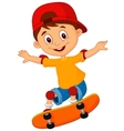 Little boy cartoon skateboarding vector image