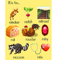 Many words begin with letter R vector image vector image