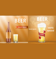 natural beer banner set realistic style vector image